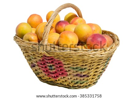 apricot in basket isolated on white background