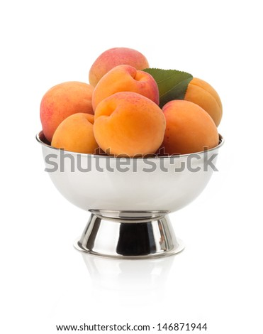apricot in bowl isolated on white background - stock photo