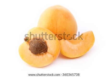 Apricot isolated on white background - stock photo