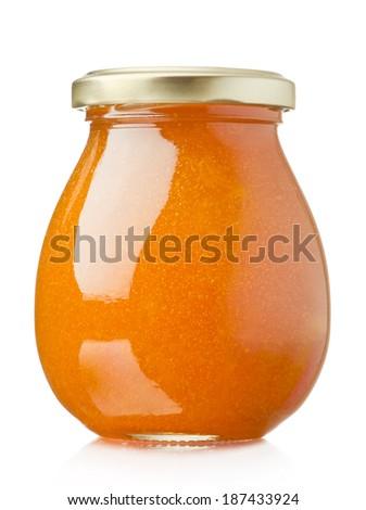 Apricot jam glass jar isolated on white background - stock photo