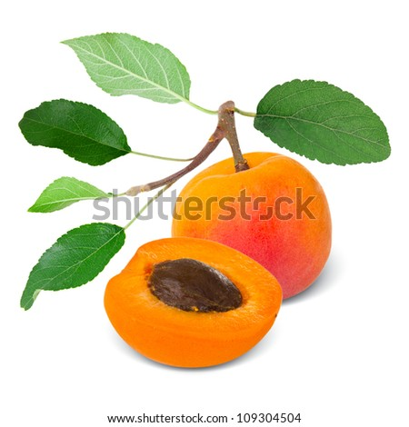 Apricot with leaves and slice isolated on white - stock photo