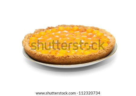 apricots cheesecake with jelly isolated on white - stock photo