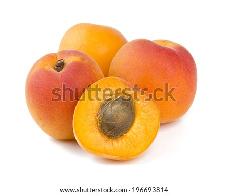apricots isolated on white - stock photo