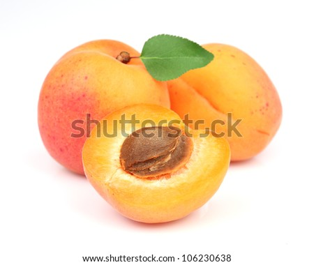 Apricots with leaf - stock photo