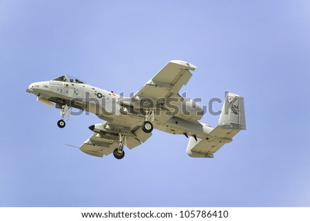APRIL 2007 - A-10A Thunderbolt II flying at the 42nd Naval Base Ventura County (NBVC) Air Show at Point Mugu, Ventura County, Southern California. - stock photo