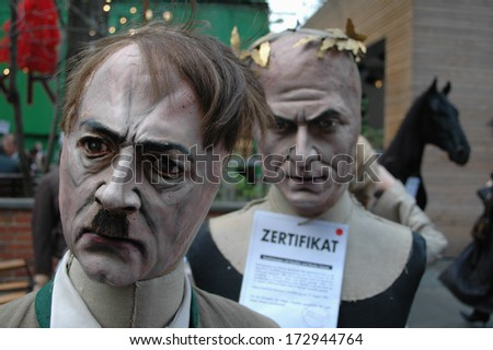 APRIL 16, 2005 - BERLIN: a puppet showing German Nazi dictator Adolf Hitler - auction of theatrical properties of the Berliner Ensemble theater in Berlin.  - stock photo