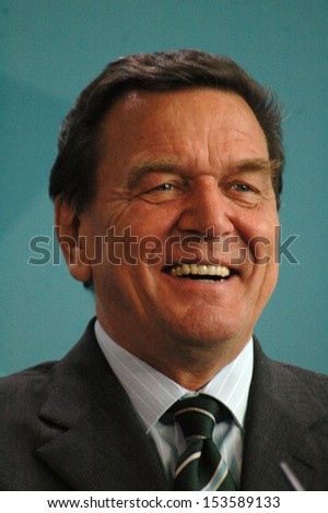 APRIL 13, 2005 - BERLIN: Chancellor Gerhard Schroeder at a press conference after a meeting in the Chanclery in Berlin.