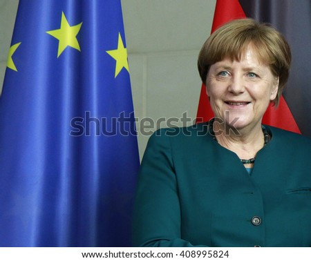 APRIL 19, 2016 - BERLIN: German Chancellor Angela Merkel at a press conference after a meeting with the president of the Palestinian National Authority, Chanclery. - stock photo