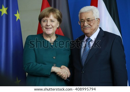APRIL 19, 2016 - BERLIN: German Chancellor Angela Merkel, the president of the Palestinian National Authority, Mahmud Abbas at a press conference after a meeting, Chanclery. - stock photo
