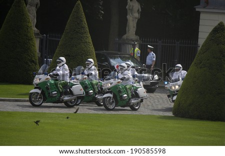 APRIL 30, 2014 - BERLIN: motorcade of the Japanese Prime Minister Shinzo Abe arriving at the Schloss Bellevue for a meeting with the German Federal President, Berlin.