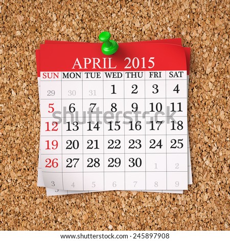 April 2015  Calendar on cork board , 3d render - stock photo