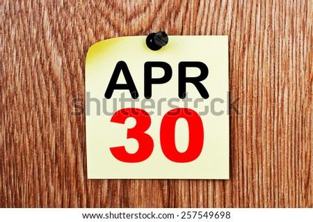 April 30 Calendar. Part of a set - stock photo