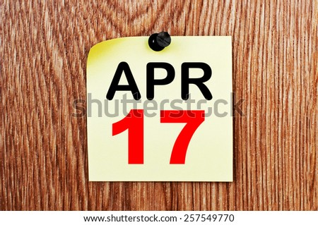 April 17 Calendar. Part of a set - stock photo