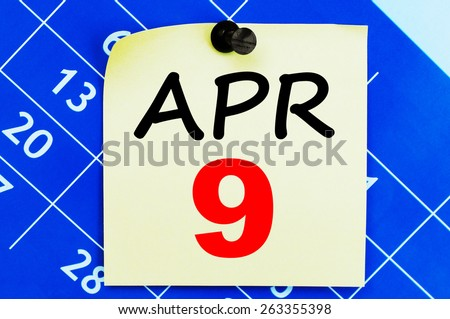 April 9 Calendar. Part of a set - stock photo