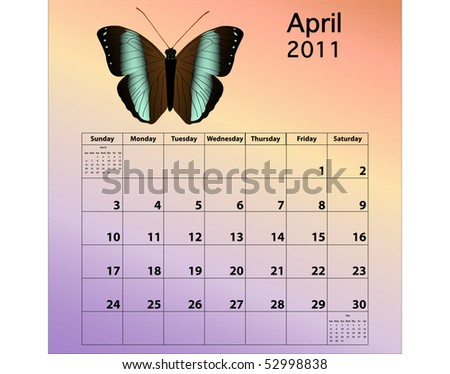 April 2011 calendar with butterfly - stock photo
