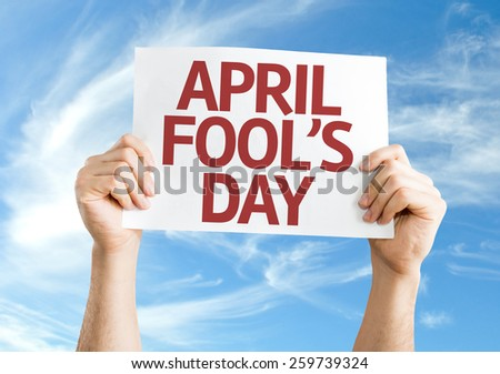 April Fool's Day card with sky background - stock photo