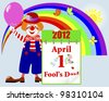 April fools' day. Cute clown in a hat with a calendar against rainbow and butterflies. Raster version. - stock photo