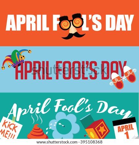 April Fools Day flat design banner set.  - stock photo