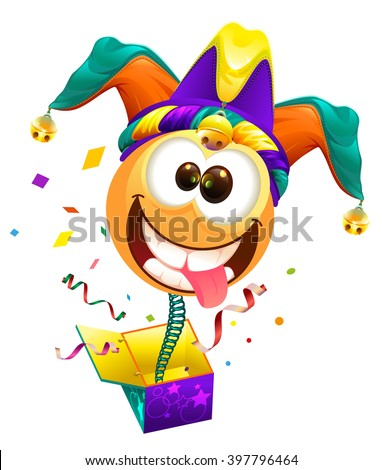 April Fools day. Fools cap smile on spring flies out of box. April Fools joke - stock photo