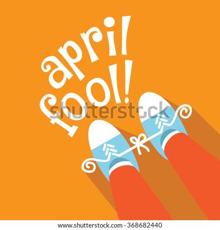 April Fools Day gag flat design.  - stock photo