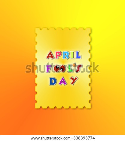 April fools day illustration over gold background banner - stock photo