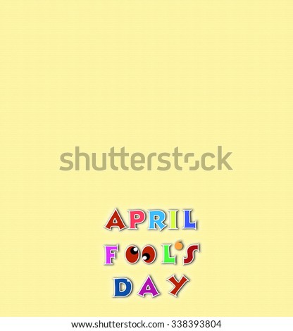 April fools day illustration over yellow background banner with text space - stock photo