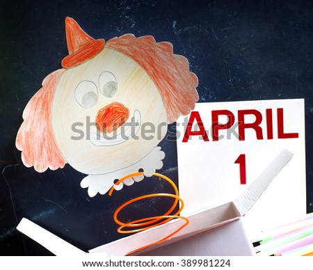 April fools day symbol concept with clown - stock photo
