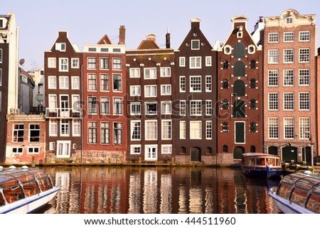 April 14, 2016. Holland, Amsterdam canals. In the centre of Amsterdam.