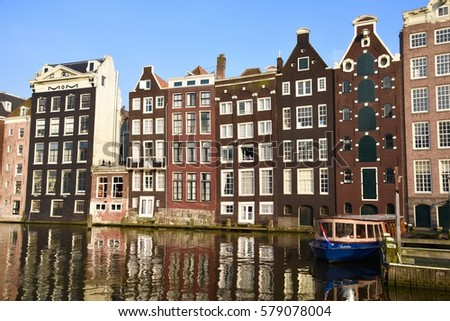 April 14,2016. Holland, Amsterdam. Old houses on the canal.
