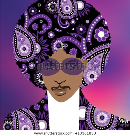 APRIL 24, 2016: Illustrative editorial drawing of musical artist Prince. - stock photo