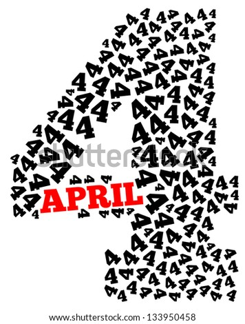 April info-text graphics arrangement concept composed in number 4 shape on white background - stock photo