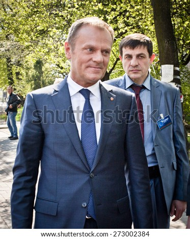 April 27, 2015. Kiev, Ukraine. President of the European Council, Donald Tusk visited the place of death activists of Euromaidan in Kiev. Tusk arrived in Kiev at international summit Ukraine - EU.