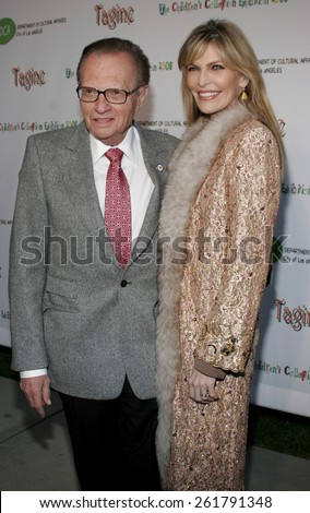 """April 22, 2006. Larry King and Shawn Southwick-King attend the opening of """"The Children's Collection"""" held at the Junior Arts Center Gallery at Barnsdall Park in Hollywood, California United States. - stock photo"""