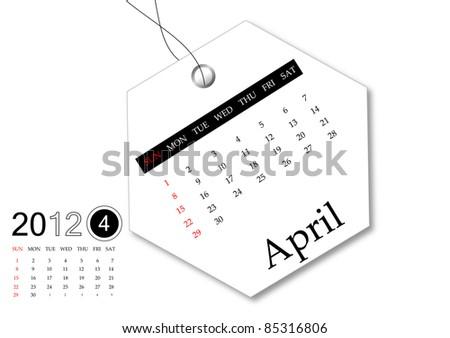April of 2012 calendar - stock photo