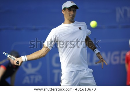 April 02, 2016: Professional tennis player Evgeny Donskoy in action at the ????-final match during the ATP Challenger Tour 2016 at Raanana