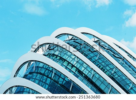 April 6, 2014  Singapore. Detail of the buildingin the park Gardens by the Bay, Singapore. - stock photo