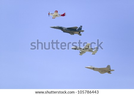 APRIL 2007 - United States Air Force on its 50th anniversary featuring heritage flight with four vintage planes, at Ventura County Air Show at Point Mugu, Ventura County, Southern California.