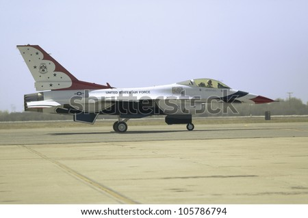 APRIL 2007 - US Air Force F-16C Fighting Falcons, known as the Thunderbirds, preparing to takeoff during the 42nd Naval Base Ventura County Air Show at Point Mugu, Ventura County, Southern California. - stock photo