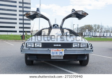 APRIL 26, 2015 - Woodbridge, NJ: A replica of the Back to the Future DeLorean is shown at the Cars of the Hollywood Screen car show. - stock photo