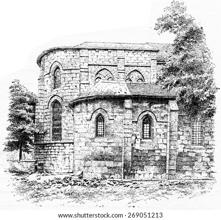 Apse of Saint-Julien-le-Pauvre, vintage engraved illustration. Paris - August 1890.