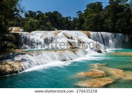 Aqua Azul waterfall, Chiapas, Mexico - stock photo