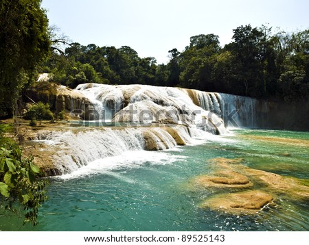Aqua Azul waterfall in Chiapas Mexico - stock photo