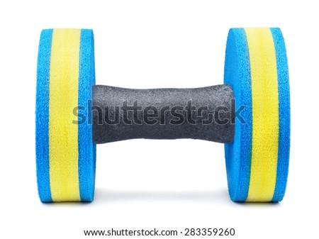 Aqua fitness dumbbell isolated on white - stock photo