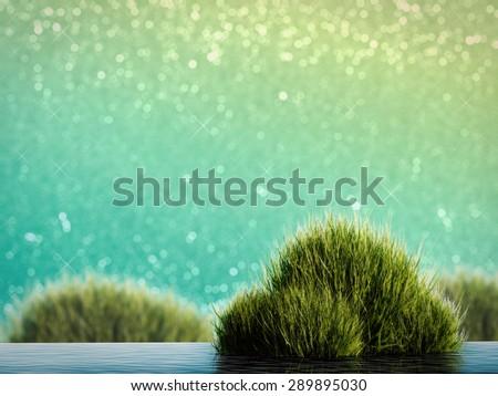 aqua plant on green glitter background - stock photo