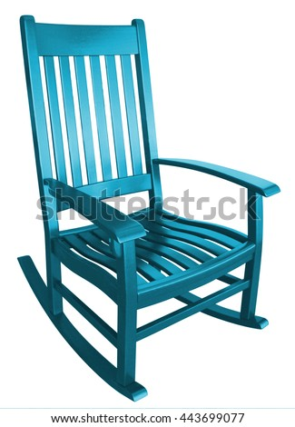 aqua rocking chair facing right on a porch isolated painted wood country relaxing beach furniture traditional contemporary wooden friendly welcoming hospitality chairs living comfortable