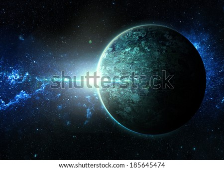 Aqua Sunrise over Lone Plane t- Elements of This Image Furnished By NASA  - stock photo