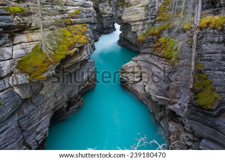 Aqua waters at Athabasca Falls, Alberta, Canada - stock photo