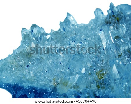 aquamarine gem semigem geode crystals geological mineral isolated  - stock photo