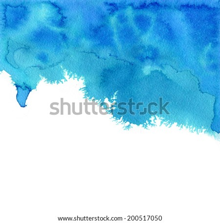 Aquamarine watercolor background. Abstract hand painted grunge background - stock photo