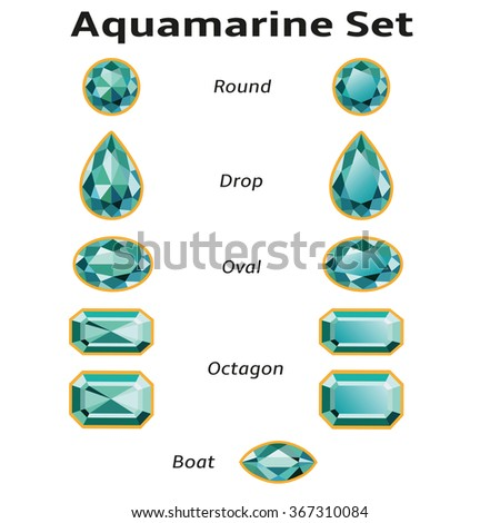 Aquamarines set different cut - round, drop, oval, boat and octagon. Brilliant three-dimensional jewelry on a white background. Isolated Objects, illustration. All gems signed free font Amble